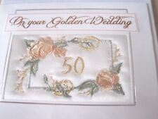 MACHINE EMBROIDERED HAND MADE CARD. SILKY BACKGROUND. GOLDEN WEDDING