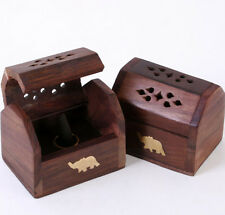 New Wooden Incense Burner Box with Brass Elephant Inlay for Cone or Sticks