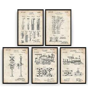 Train Set Of 5 Patent Prints - Railway Poster Railroad Art Decor Gift - Unframed