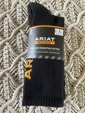 3 Pair Ariat Work Premium Ringspun Cotton Crew Socks Unisex Large Black NIP