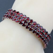 Red Crystals Garnet Round Bracelet 925 Sterling Silver Chain Womens Jewelry Gift