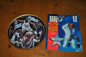"""RARE SHAQUILLE O'NEAL SPORTS IMPRESSIONS 10 1/4"""" GOLD PLATE & FREE ACTION FIGURE"""