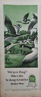 Lot of 2 Vintage 1946 Quaker State Oil Print Ads Ephemera Wall Art Decor