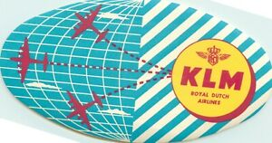 KLM AIRLINE~ Seldom Seen Old ART DECO Luggage Label, c. 1955
