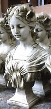 Female Bust art nouveau style stone statue home garden ornament antiqued white