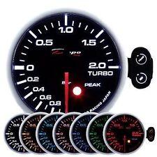 Manometro Strumento 52mm DEPO Pressione Turbo -1+2 BAR Allarme Picco 7 Colori