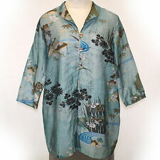 NEW NWT Citron Clothing Plus Size Linen Blend Teal Floral Jacket Tunic Blouse 1X