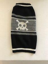 Acrylic Black White Gray Dog Sweater Skulls & Crossbones Size L