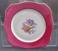 """Vintage P.T. Tirschenreuth Bavaria Square Salad Plate Multi Floral 8"""" P21"""