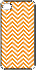 Chevron Orange Designed iPhone 4 4s Hard White Case Cover