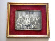 ANTIQUE PORTRAIT WOOD VELVET BRONZE BUBBLE GLASS VICTORIAN COUPLE DANCING