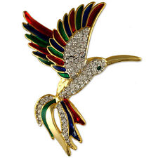 CRYSTAL TWO TONE HUMMINGBIRD BIRD BROOCH PIN MADE WITH SWAROVSKI ELEMENTS