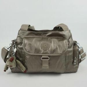 KIPLING FELIX L Handbag Shoulder Crossbody Bag Metallic Pewter Croc