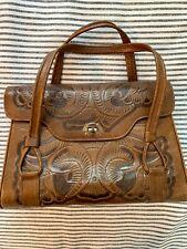 Vintage Hand Tooled Carved Brown Leather Western Purse/Satchel/Handbag/Clutch