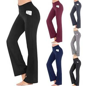 Yoga Pants Women Flare Leg Fold Over Waist Bootcut Gym Workout Exercise Trousers