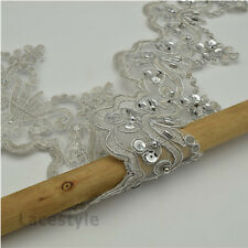 1Yard Beaded Sequins Bridal Lace Trim Veil Wedding Dress Applique DIY Craft