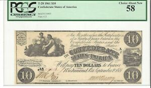 1861, $10 Confederate Note