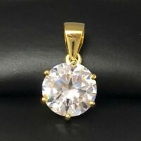 2 Ct Round Solitaire Diamond Pendant Charm SOLID 14k Yellow Gold Women Gift Box