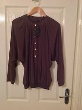 LADIES 'TEDBAKER' BRAND NEW BROWN SILK BLOUSE. SIZE 8/TEDBAKER 1. LABEL ATTACHED