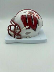 TJ Watt Signed Wisconsin Badgers Riddell Speed Mini Helmet COA/Holo STEELERS