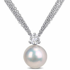 Amour Sterling Silver Cultured FW Pearl and White Topaz Multi-Chain Necklace