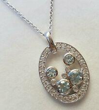 New!Genuine 1ct Aquamarine & 0.70ct topaz 45cm sterling silver necklace,QVC