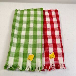 vtg cannon kitchen towel dishcloth pair green red 25x15 plaid checkered retro
