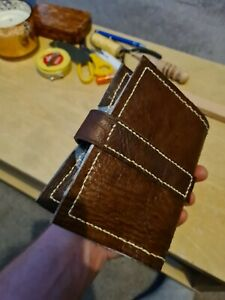 Book protector sleeve leather, hand stitched, one of a kind