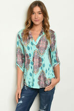 New Ladies USA Boho Aztec Paisley Casual V-Neck Western Tunic Top Blouse S-M-L
