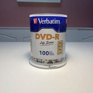 VERBATIM Life Series 16X DVD-R DVDR 4.7GB Branded Logo 100 pack Spindle New