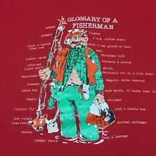 Vintage Glossary Of A Fisherman XL Red T-shirt Bobber Vest Worms Buck Knife Rod