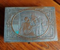 Vintage French B. Wicker Engraved Silver Plated Copper Jewelry Box 1800 to 1900