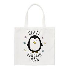 Crazy Pingüino Hombre Small Tote Bag-Gracioso Animal Lindo Hombro Shopper