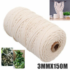 3mm DIY Macrame Rope Natural Beige Cotton Twisted Cord Artisan Hand Craft USA
