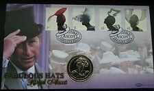 2001 GIBRALTAR 1 Crown Garter Robes Famous Hats Queen Elizabeth II Coin Cover