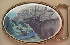 Belt Buckle Barlow Photo Reproduction Color Portriat Elk Traditional Stag 590678