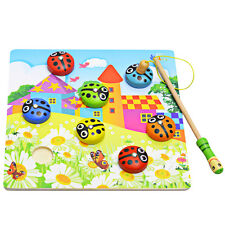 Baby Kids Magnetic Fishing Game + 3D  Beetle Puzzle Board Wooden Educational Toy