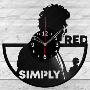 Vinyl Clock Simply Red Vinyl Record Wall Clock Home Art Decor Handmade 4866