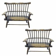 """Set of 2 Windsor Style Wood Doll Chair With Arms Love Seat 9x9x3"""""""