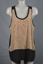 Eileen Fisher NWT womans top size L Black Peach Beaded front Original price $298