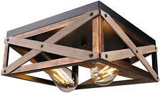 Farmhouse Ceiling Light Fixture Rustic Industrial Wood Flush Mount Black Kitchen