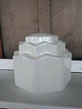 Vintage Art Deco Milk Glass Skyscraper Shade Ceiling Mount Light Fixture