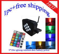 1pc Wireless DMX512 IR Battery Power Led Par 9*18W RGBWA+UV 6 in 1 Light Par64