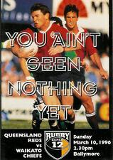 Queensland Reds vWaikato Chiefs - Super 12 - 10 Mar 1996 RUGBY PROGRAMME