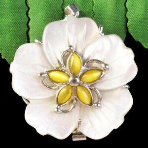 K75921 Carved White Shell Yellow Cat Eye Gem Flower Pendant Bead