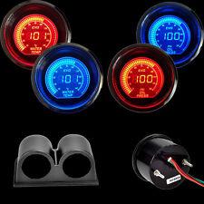 """Blue&Red  2"""" 52MM Digital LED EVO Water Temperature Gauge+Oil Press Gauge+Pod"""
