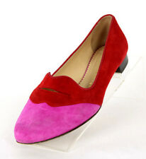 CHARLOTTE OLYMPIA Magenta & Red Suede Lips BISOUX Flats Loafers 37.5