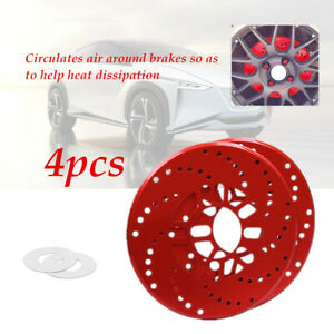 """4X Car 2.9""""Install Hole Wheel Brake Disc Cover Decorative Rotor Cross Drilled"""