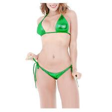 Sexy Women Metallic Lingerie Underwear Wet Look Push Up Bra Bikini Set Swimwear