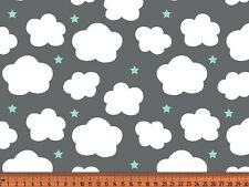"Jersey "" Wolken & Sterne "" grau - Kinderstoff"